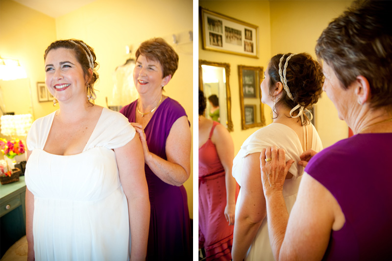 Mother of Bride helping Bride into dress at the Montclair Women's Cultural Arts Club