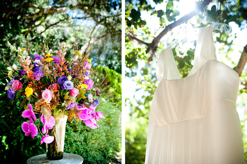 Flower arraingement and wedding dress in Oakland, CA