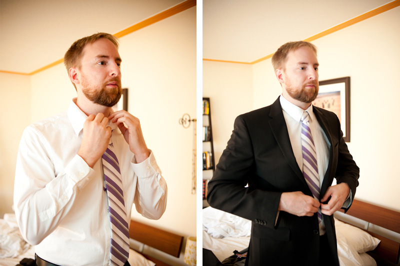 Groom getting ready in Oakland, CA