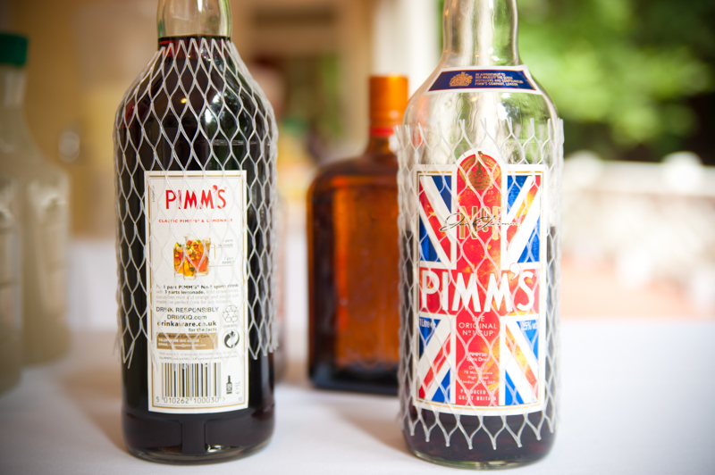 Detail of Pimms bottle at wedding