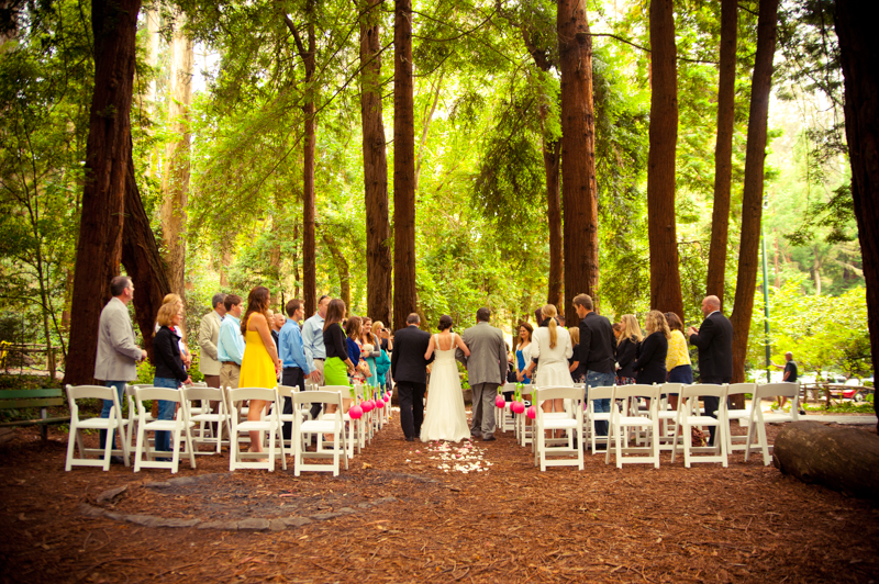 Father and Step Father of Bride walking down aisle at Stern Grove