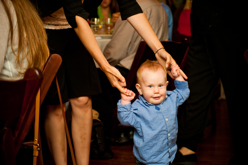 Toddler at wedding reception in San Francisco