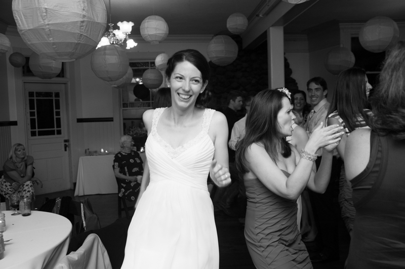 Bride square dancing at wedding in San Francisco