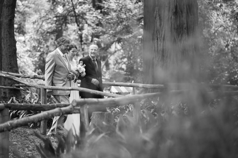 Bride walking with father and step father at Stern Grove Wedding
