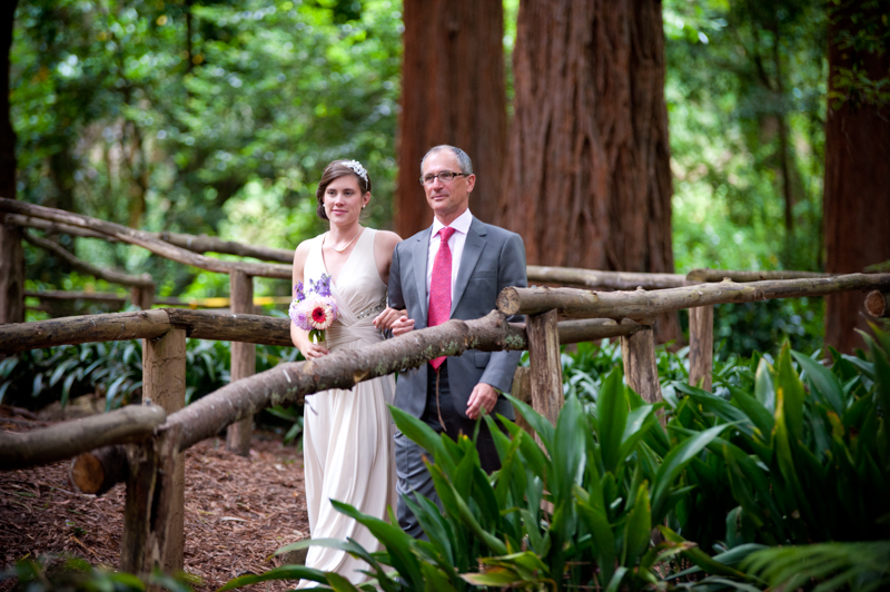 Bride and her father walking down aisle in San Francisco