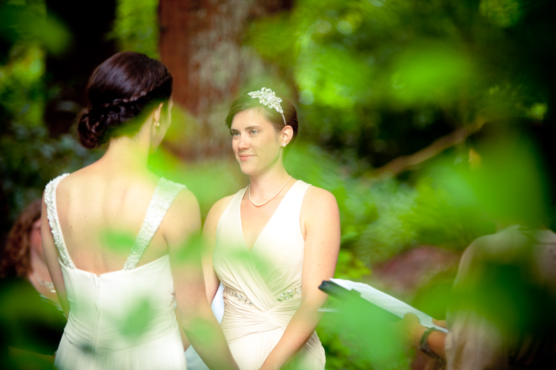 Couple exchanging vows at Stern Grove wedding