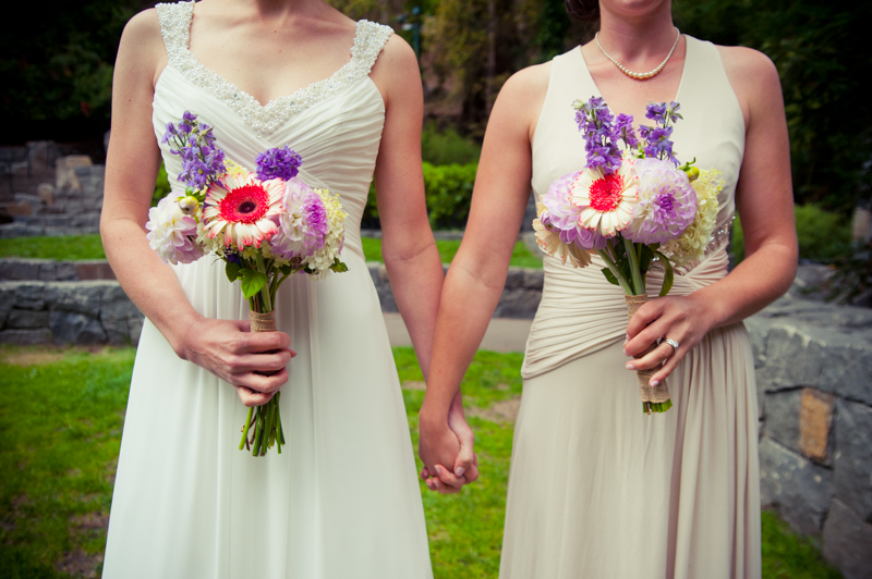 Detail of Brides holding bouquets