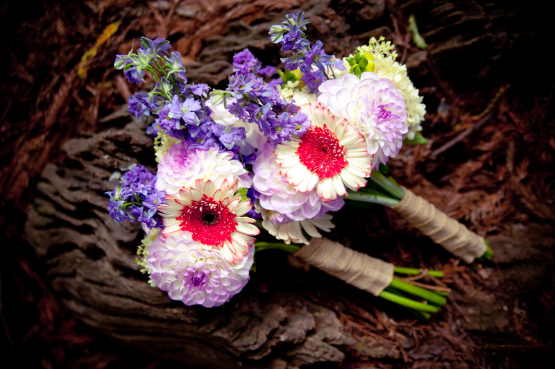 Brides Bouquets at base of redwood tree