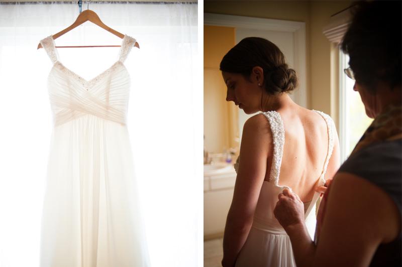 High key photo of wedding dress hanging