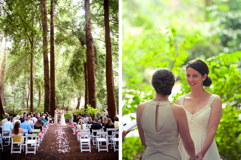 Couple exchanging vows under redwoods in San Francisco