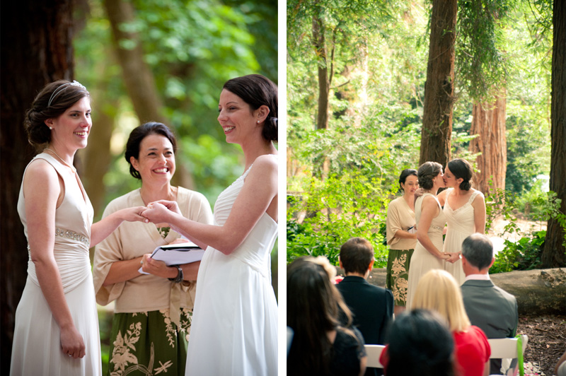 Couple kiss for first time at Stern Grove Wedding