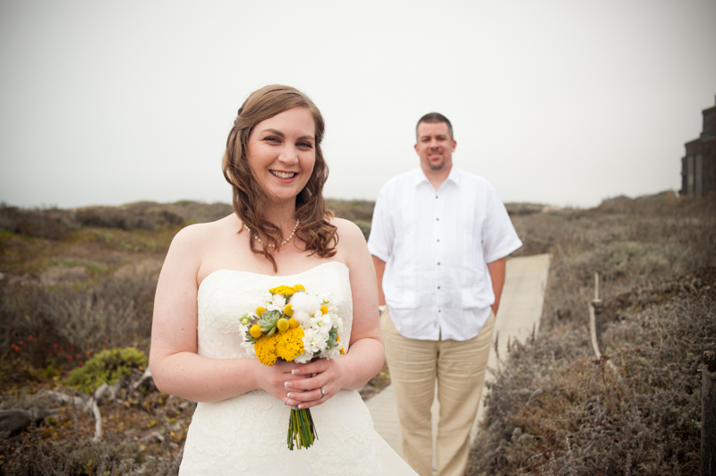 Portrait of Bride and Groom before their Monterey Beach Wedding