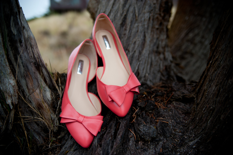 Bride's bright pink shoes in on tree