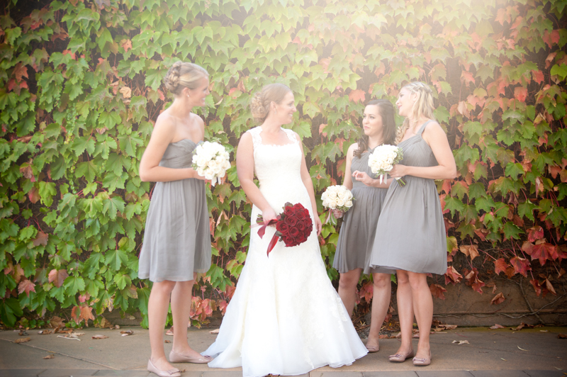 Candid portrait  of Bride and Bridesmaids talking at Viansa Winery