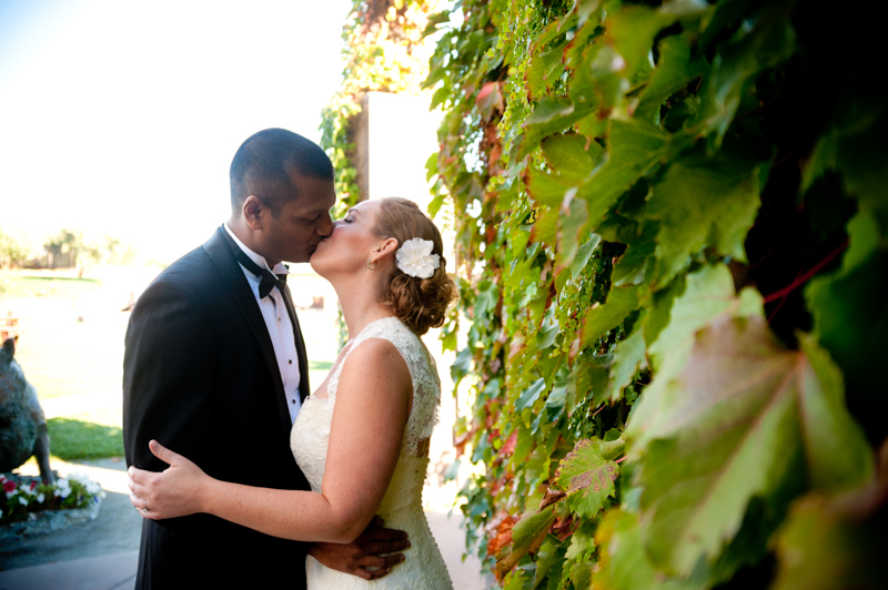 Bride and Groom kissing at Viansa Winery Wedding