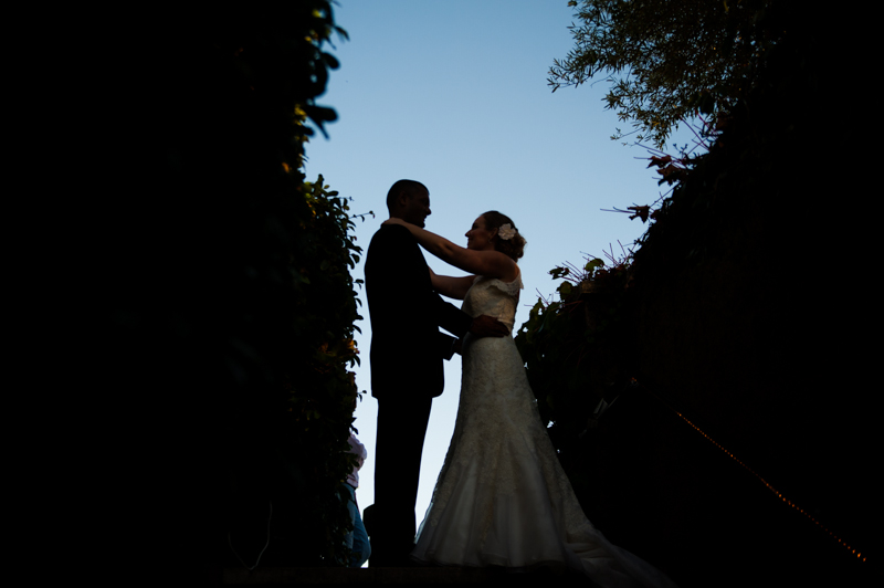 Silhouette of Bride and Groom with blue sky