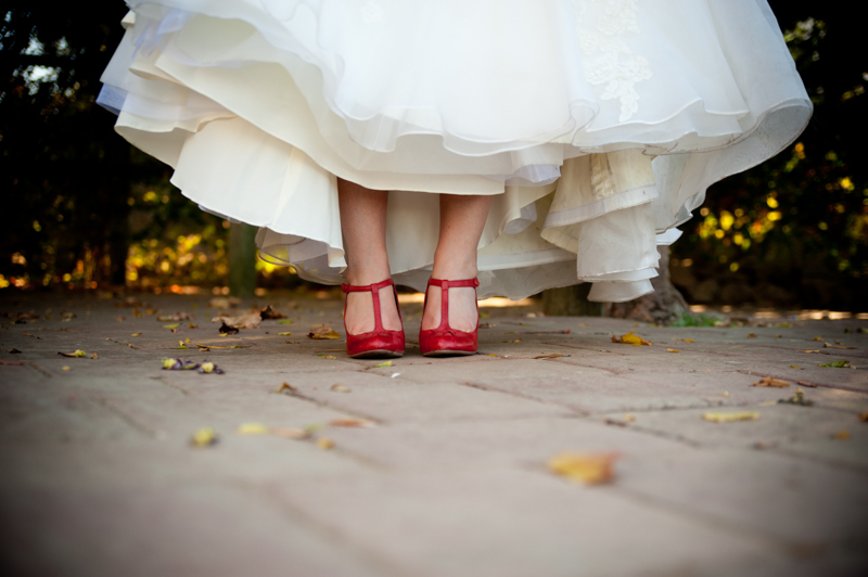 Detail of Bride's red wedding shoes