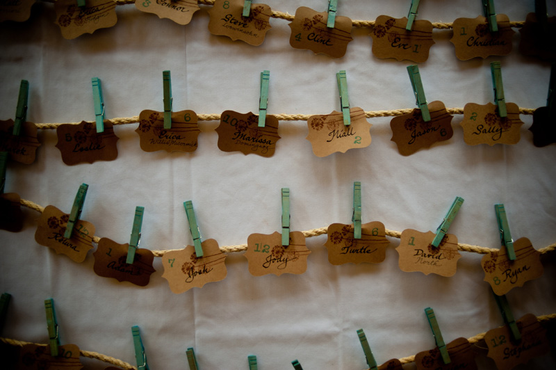 DIY wedding seating chart with clothespins