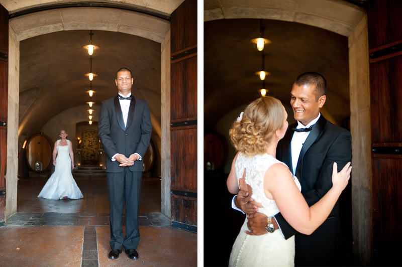 First look with Bride and Groom at Viansa Winery Wedding