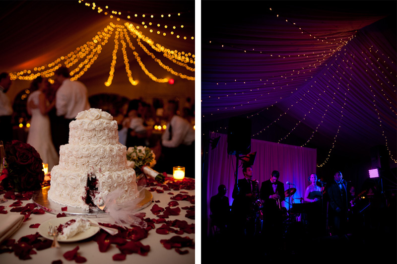 Detail of wedding cake and mood lighting in Sonoma, CA