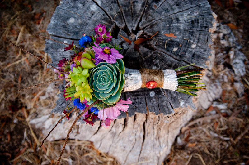 Rustic wedding bouquet with succulents resting on tree stump
