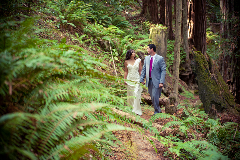 Bride and Groom amidst redwoods at Mar Vista Cottages