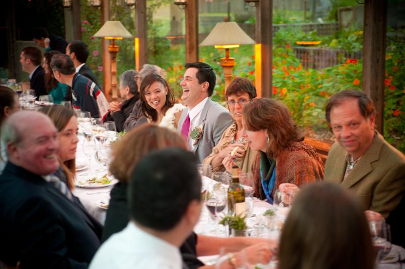 Guests at wedding reception at Mar Vista Cottages