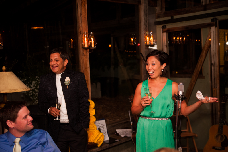 Sister of bride giving toast at Mar Vista Wedding