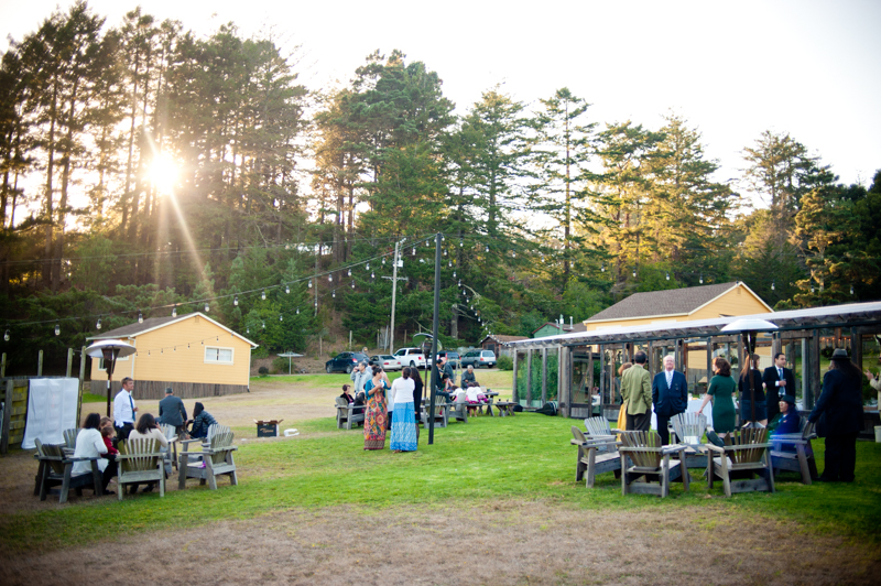 Overview of wedding reception at Mar Vista Cottages
