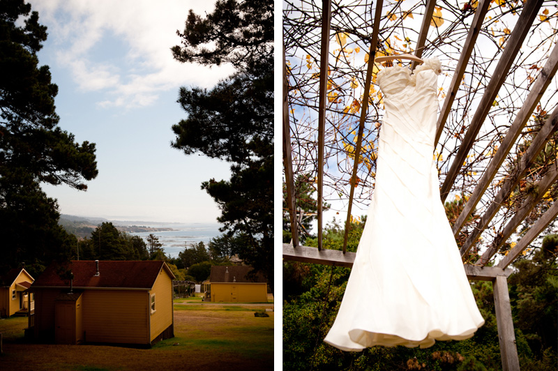 Detail of Mar Vista Cottages and Wedding Dress