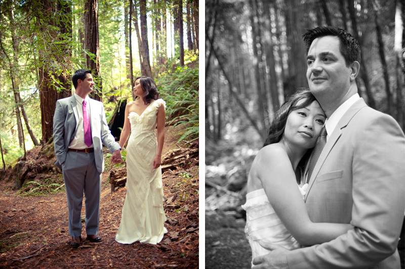 Bride and Groom embrace in Anchor Bay redwood grove