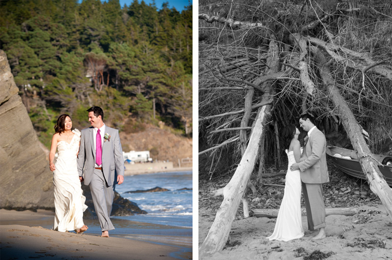 Bride and Groom walking together on beach in Anchor Bay, CA