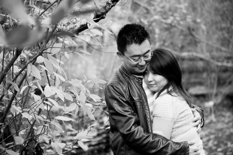 Couple embracing during anniversary photo session