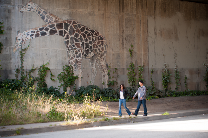 Bay Area engagement photos with Oakland giraffe murals