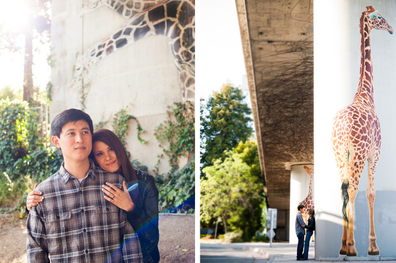 Oakland engagement session at giraffe murals in Oakland