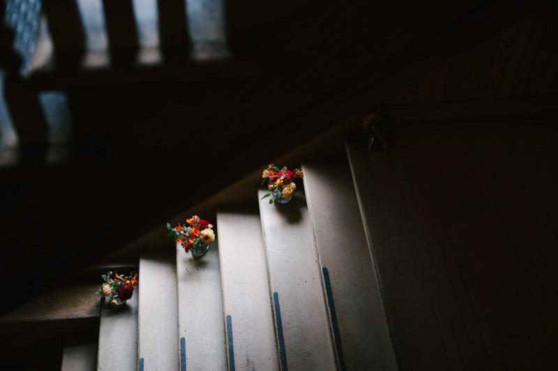 Flower arrangements lining stairs