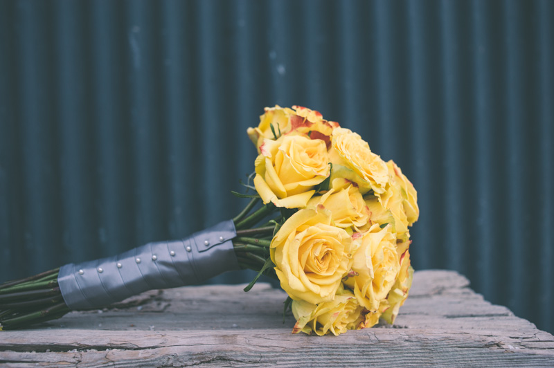 Detail of yellow rose bouquet