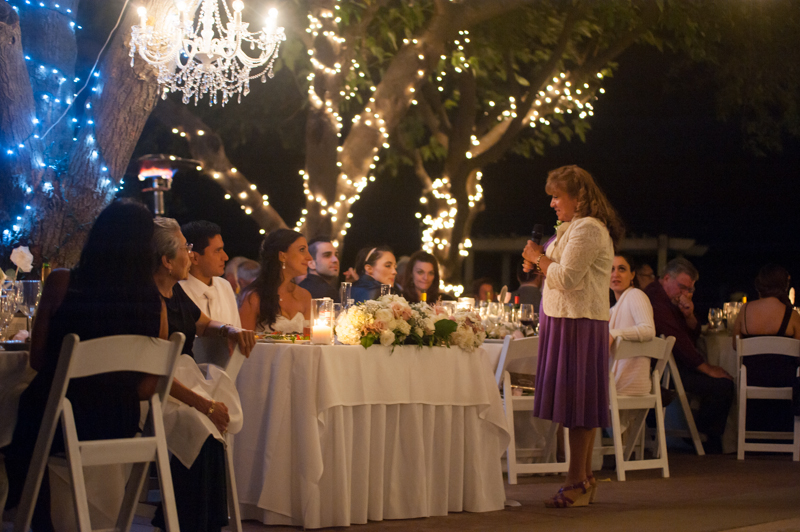 Mother of Groom giving toast at Diablo Ranch wedding