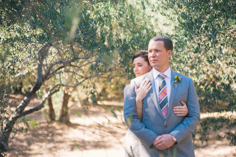 Portrait of bride and groom in Olive grove