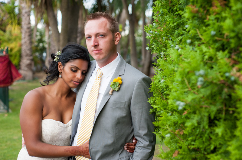 Portrait of bride and groom after western wedding ceremony