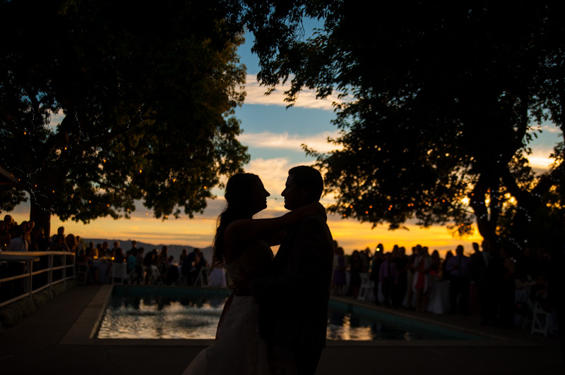 Silhouette of Bride and Groom's first dance