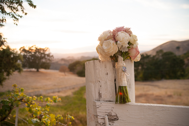 Wedding bouquet on white wooden fence on Mt. Diablo