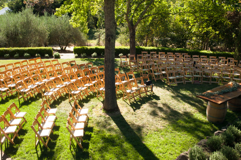 Overview of ceremony site at Napa house wedding
