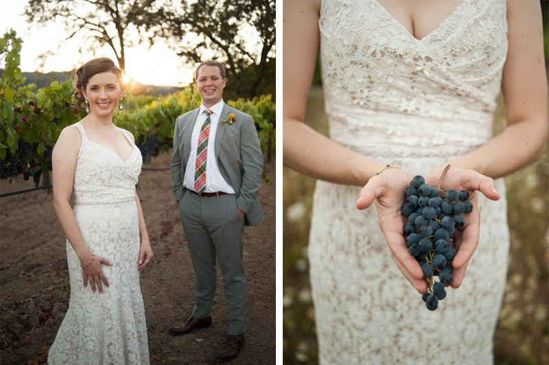 Portrait of Bride and Groom.  Bride holding wine grapes in St. Helena