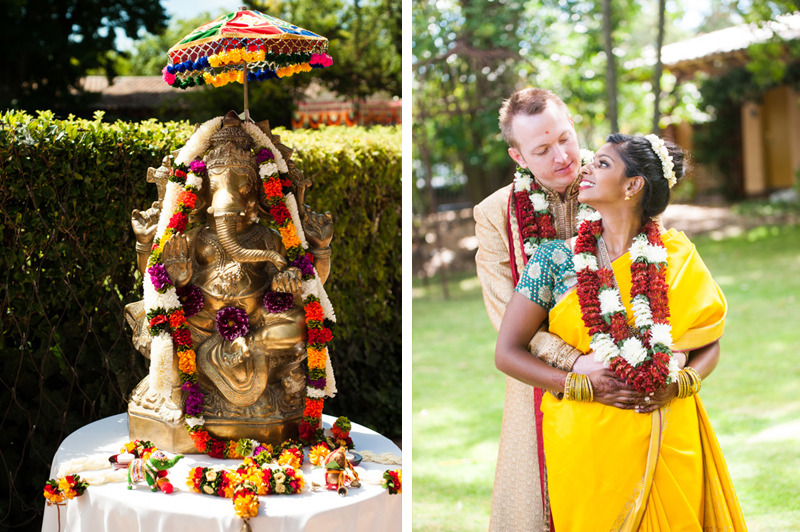 Portrait of ganesh and wedding portrait of indian couple