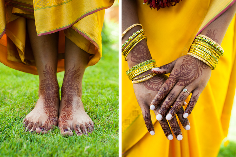 Detail of wedding henna on hands and feet