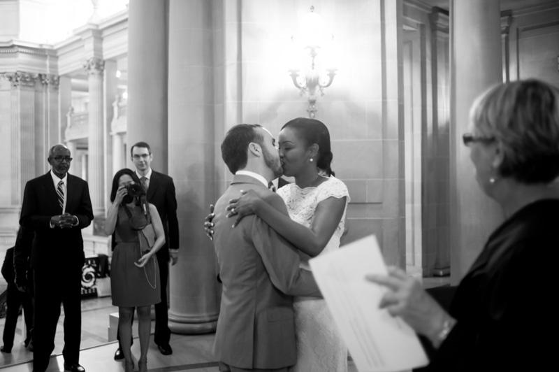 Bride and Groom kiss at San Francisco City Hall