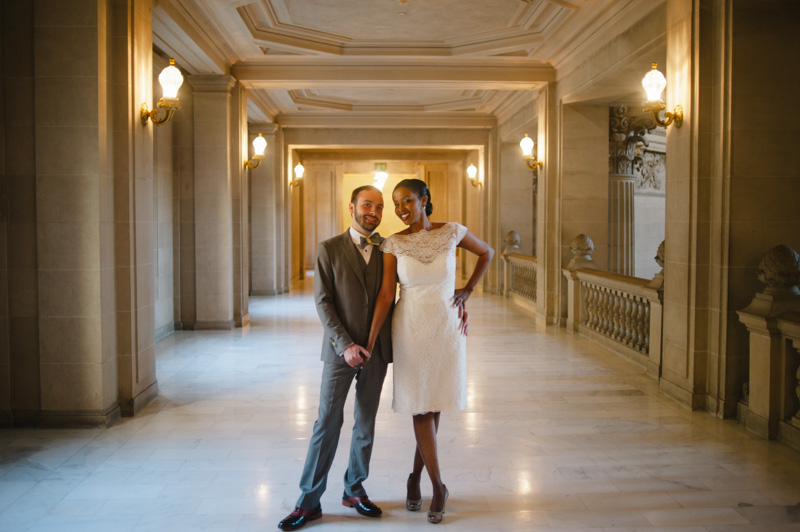 Portrait of Bride and Groom in hallway at San Francisco City Hall