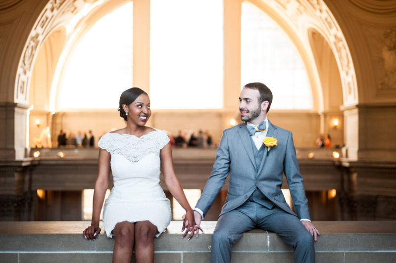 Portrait of Bride and Groom in SF City Hall
