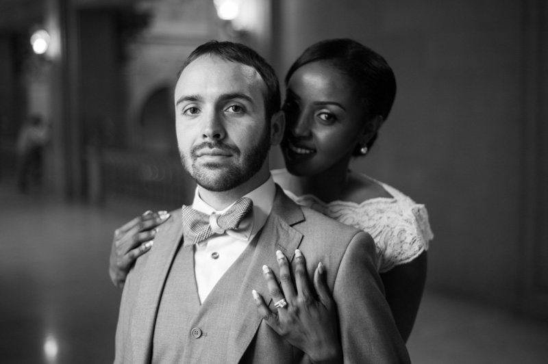 Black and white portrait of bride and groom after City Hall ceremony